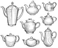 Kettles set. Teapots silhouette collection. Coffee pot. Stock Images