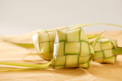Ketupat. Indonesian traditional food from coconut leaf fill by rice Stock Photos