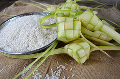 Ketupat casings. Made from young coconut leaves Royalty Free Stock Photo
