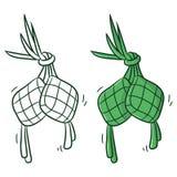Ketupat eller traditionell mat vektor illustrationer