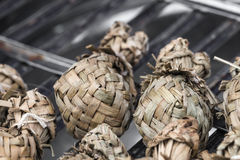 Ketupat - glutinous rice . Sticky rice is packed with leaves Royalty Free Stock Images