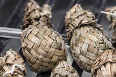 Ketupat - glutinous rice . Sticky rice is packed with leaves Stock Photos