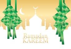 Ketupat green ribbon center card Royalty Free Stock Images