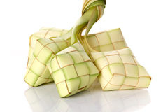 Ketupat rice dumpling on white background. Ketupat normally serve during serve during Hari Raya Aidilfitri in Malaysia and Indonesia Royalty Free Stock Images