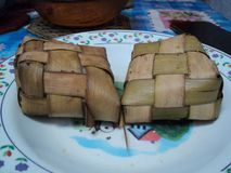 Ketupat typical food when Eid al-Fitr stock images