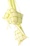 Ketupat on white background. Ketupat is traditional food in Mala Stock Image