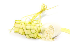 Ketupat on white background. Ketupat is traditional food in Mala Royalty Free Stock Photos