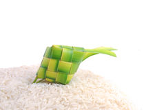Ketupats, a natural rice casing made from young coconut leaves for cooking rice on white background