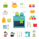 Keuken als thema gehade illustratie en pictogrammen Royalty-vrije Stock Fotografie