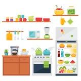 Keuken als thema gehade illustratie en pictogrammen Royalty-vrije Stock Afbeelding