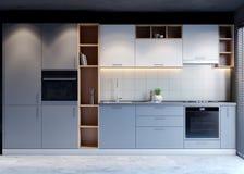 Keuken binnenlands ontwerp met moderne stijl, 3d teruggevend concept stock afbeelding