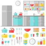 Keuken binnenlandse en kokende werktuigen op witte achtergrond Stock Fotografie