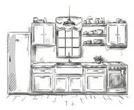 Keuken binnenlandse tekening, vectorillustratie Stock Fotografie