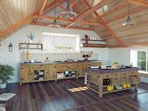 Keuken in de zolder Royalty-vrije Stock Foto's