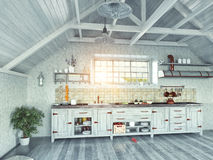 Keuken in de zolder Royalty-vrije Stock Fotografie