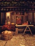 Keuken in een middeleeuws huis vector illustratie