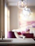Keuken, eetkamer binnenlandse dichte omhooggaand Zachte nadruk Stock Foto