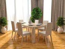 Keuken en bruine vloer 3D Illustratie Stock Fotografie