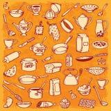 Keuken en het Koken Krabbelreeks Royalty-vrije Stock Afbeeldingen