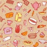 Keuken en Kokend Naadloos Patroon Stock Foto's