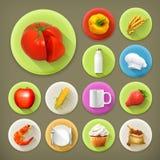 Keuken en kokende pictogrammen royalty-vrije illustratie