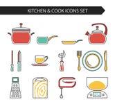 Keuken en kokpictogrammen Stock Afbeeldingen