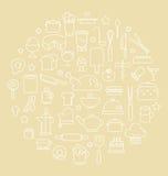 Keuken en Voedsel de Vectorillustratie van Overzichtspictogrammen Royalty-vrije Stock Fotografie