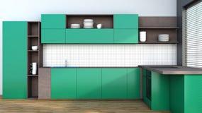 Keuken in groen Stock Foto