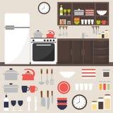 Keuken Het binnenland van de keuken Keukenruimte geïsoleerde elementen Royalty-vrije Stock Afbeeldingen
