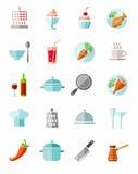 Keuken, het koken, kleurenpictogrammen Royalty-vrije Stock Afbeeldingen