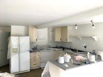 Keuken Klaargemaakt Wit met Dalingsdoeken en Verfemmers royalty-vrije stock fotografie