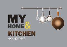 Keuken kokende hulpmiddelen die op de grijze muur van het huis hangen vector illustratie