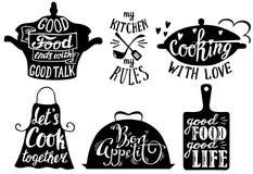 Keuken korte uitdrukkingen en citaten, vectorhand getrokken illustratie vector illustratie