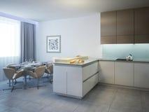 Keuken met eettafel eigentijdse stijl Royalty-vrije Stock Foto