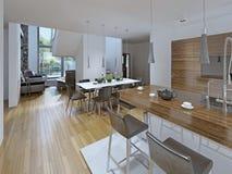 Keuken met het dineren gebied Royalty-vrije Stock Afbeelding