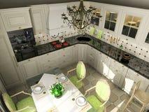 Keuken met het klassieke meubilair Royalty-vrije Stock Foto's