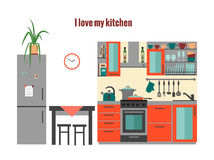 Keuken met meubilair Stock Fotografie