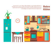 Keuken met meubilair Royalty-vrije Stock Afbeeldingen