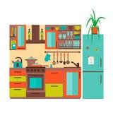 Keuken met meubilair Royalty-vrije Stock Foto's