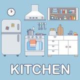 Keuken met meubilair Vlakke stijl vectorillustratie Stock Foto