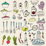 Keuken in vector wordt geplaatst die Modieuze ontwerpelementen van keuken Royalty-vrije Stock Foto's