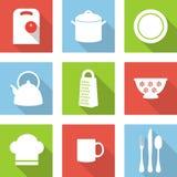 Keuken vlakke pictogrammen Stock Afbeelding
