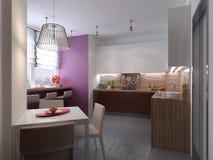 Keukenbinnenland in de stijl van constructivism Royalty-vrije Stock Foto's