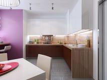 Keukenbinnenland in de stijl van constructivism Stock Afbeeldingen