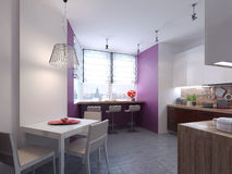 Keukenbinnenland in de stijl van constructivism Stock Foto