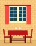 Keukenbinnenland met gelegde lijst en het romantische plaatsen Royalty-vrije Stock Afbeelding