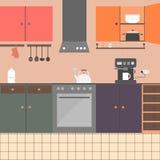 Keukenbinnenland met meubilair, toestellen, schotels Royalty-vrije Stock Afbeelding