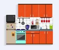 Keukenbinnenland met meubilair in vlakke stijl Ontwerpelementen en pictogrammen, werktuigen, hulpmiddelen, kabinetten, microgolf  Stock Afbeelding
