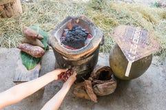 Keukenfaciliteiten in platteland Stock Afbeeldingen