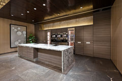 Keukengebied met marmeren vloer Royalty-vrije Stock Afbeeldingen